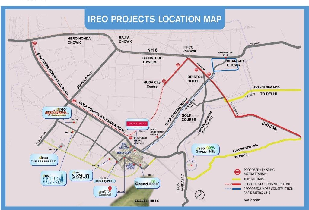 Ireo Projet sites in gurgaon map