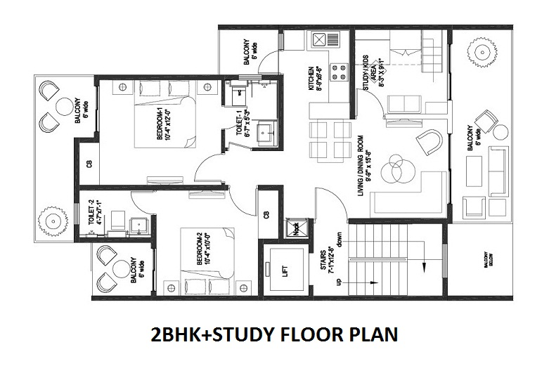 2BHK+Study Room cerise floor plan