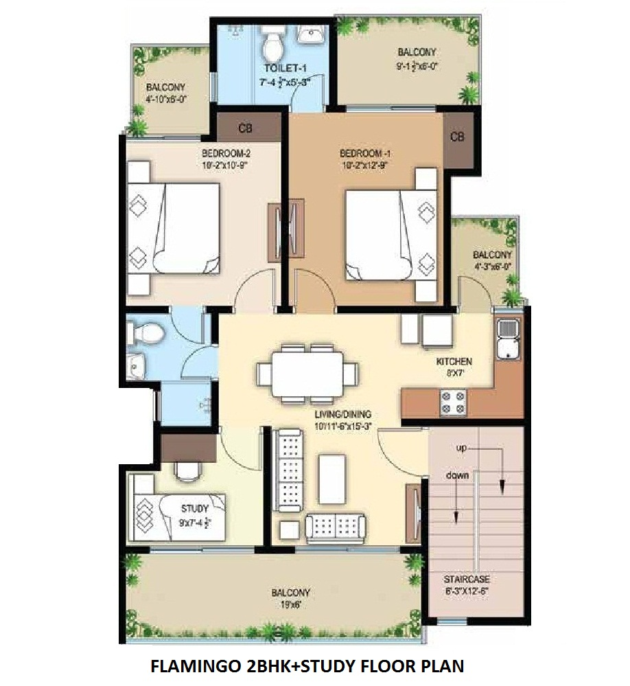 flamingo 2BHK+STUDY floor plan (1)
